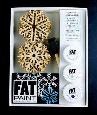 "How FUN is this? Well, a lot! A take home DIY Snowflakes Kit ❄️❄️❄️ just in time for the Holidays... Coming Soon to a FAT Paint Retailer near you. Choose from ""Icy Blues"" or ""Frosty Greens"" A beautiful gift or family make-together Swipe to get Inspired 💫 #FATPaintStudio #FATPaint #inFATuated❕ #chalkpainted #chalkstyle #DIYkit #funforallages #funforthewholefamily #snowflakes #diyhomedecor #becreative #doityourselfproject #paintedornaments #madeincanada #paintjoy #art #FATsnow #FATfirozi #FATcabaret #FATpistachio #FATcathedralgrove #FATretailer #anyonecandoit"